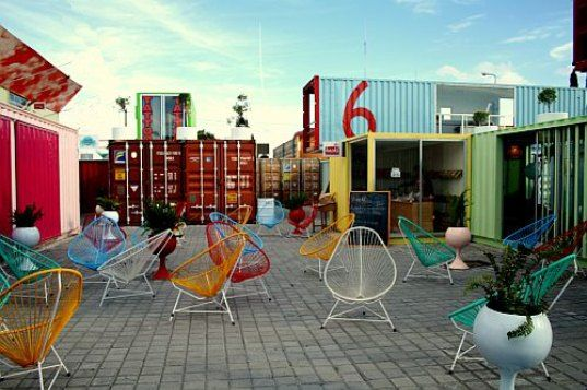Container City :: Cholula, Mexico :: A stunning city that is made up of about 50 standard shipping containers and home to restaurants, bars, gift shops, bookstores, art galleries and a few residential apartments.