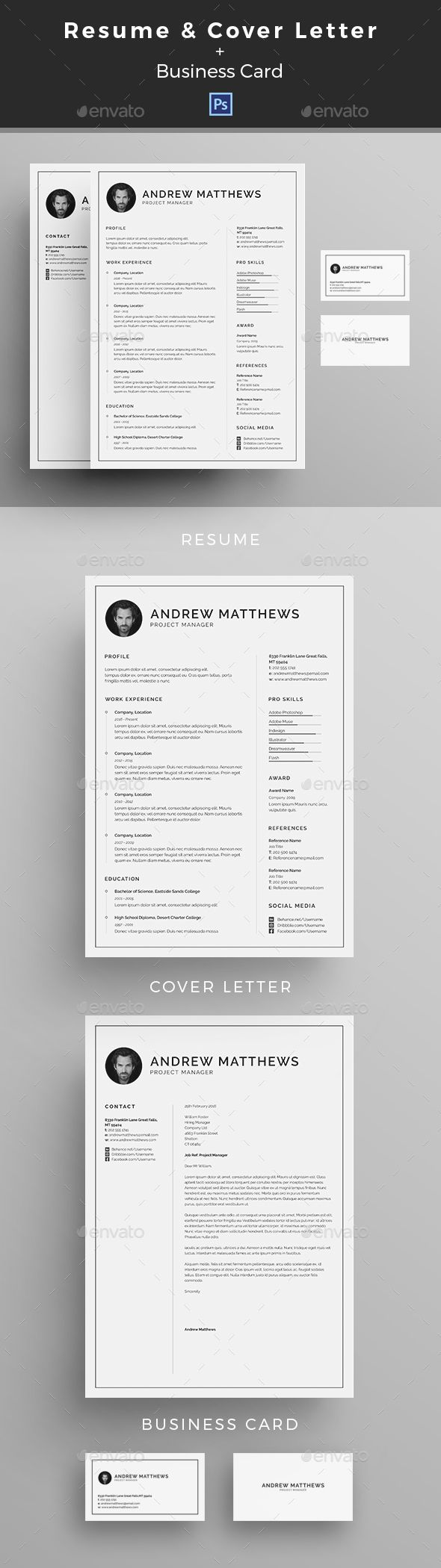 Resume | CV  — PSD Template #resume template #cover letter template • Download ➝ https://graphicriver.net/item/resume-cv/18278551?ref=pxcr