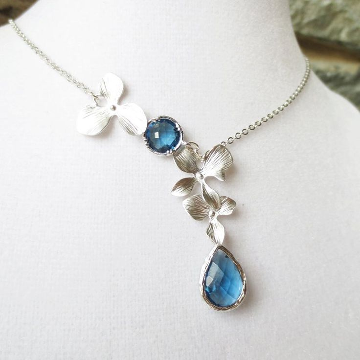 http://rubies.work/0198-ruby-rings/ Sapphire Blue Orchids, Statement Necklace, Bridesmaid, Lariat, Choker, Wedding jewelry,
