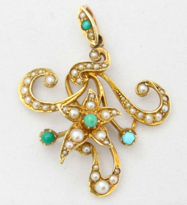 A 15ct Gold Turquoise and Seed Pearl Pendant by mitaineshop on Etsy