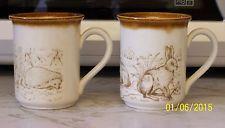 2 x Biltons Cream & Brown Tea/Coffe Mugs - Hedgehogs/Rabbits
