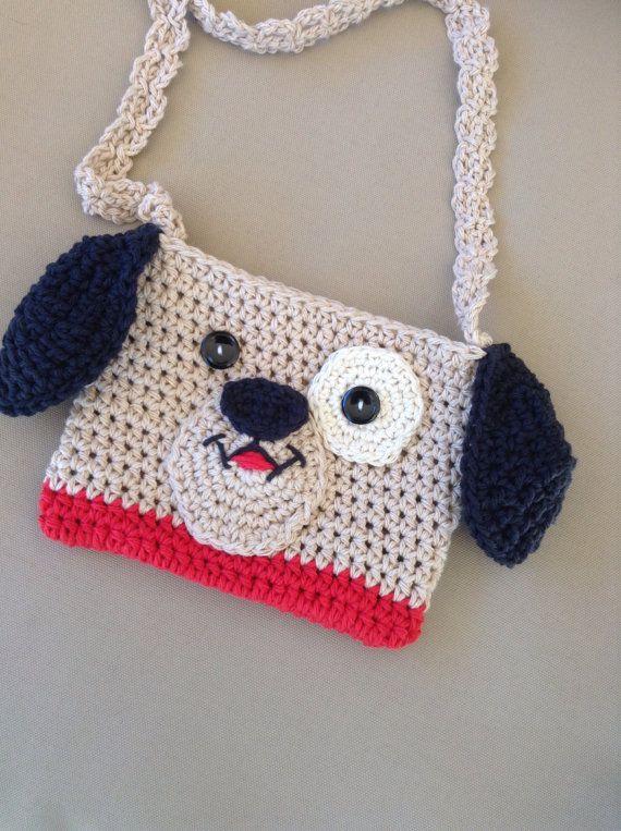 Girls puppy dog cotton purse crochet dog purse by sweetandhandmade cute gift for girl