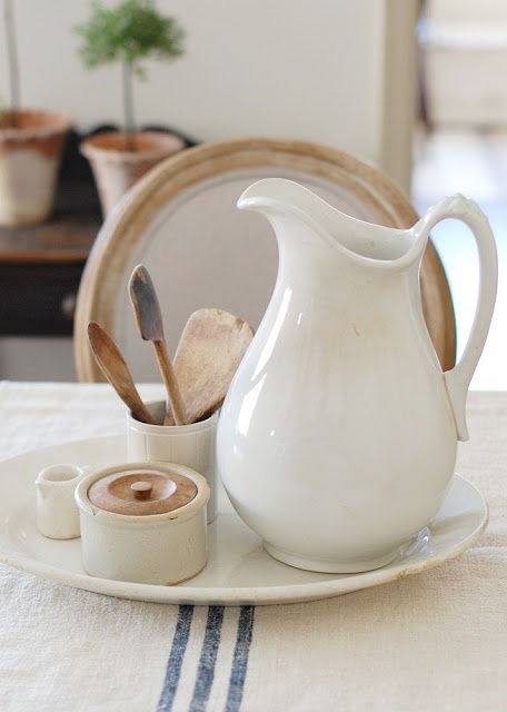 Ironstone and French grain sack