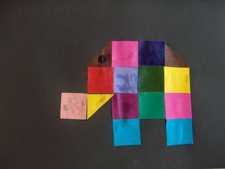 Elmer van vierkantjes - plakfiguurtjes - mozaiek