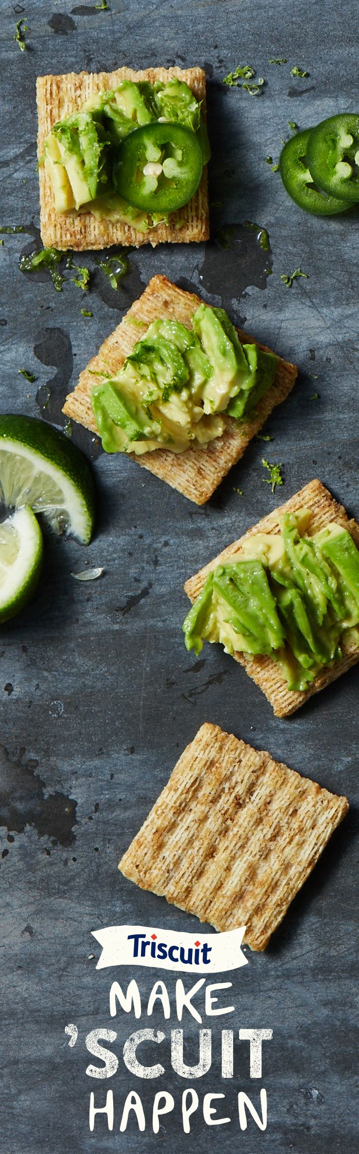 It doesn't take much to take snacking up a notch. Start with avocado, add sliced jalapeno, and top it off with a splash of lime. That's how you Make 'Scuit Happen.