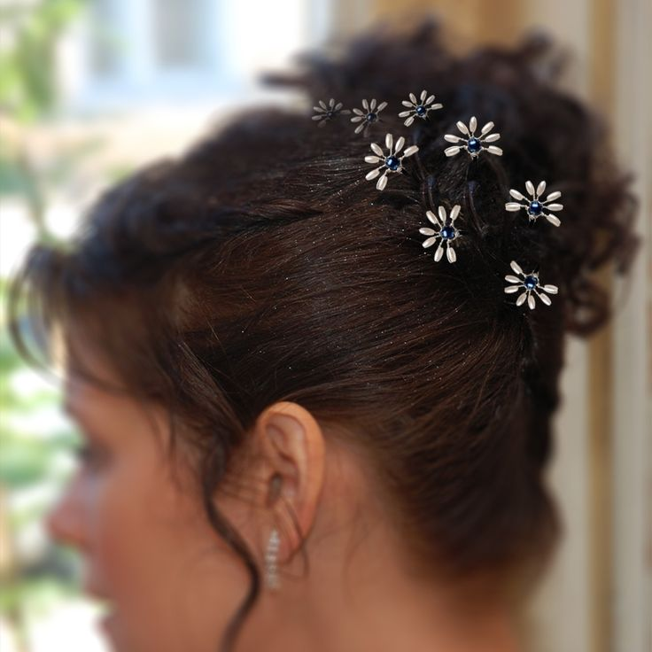 Bridal hair pins made with crystal beads, rice and glass pearls via Artual jewelry. Click on the image to see more!