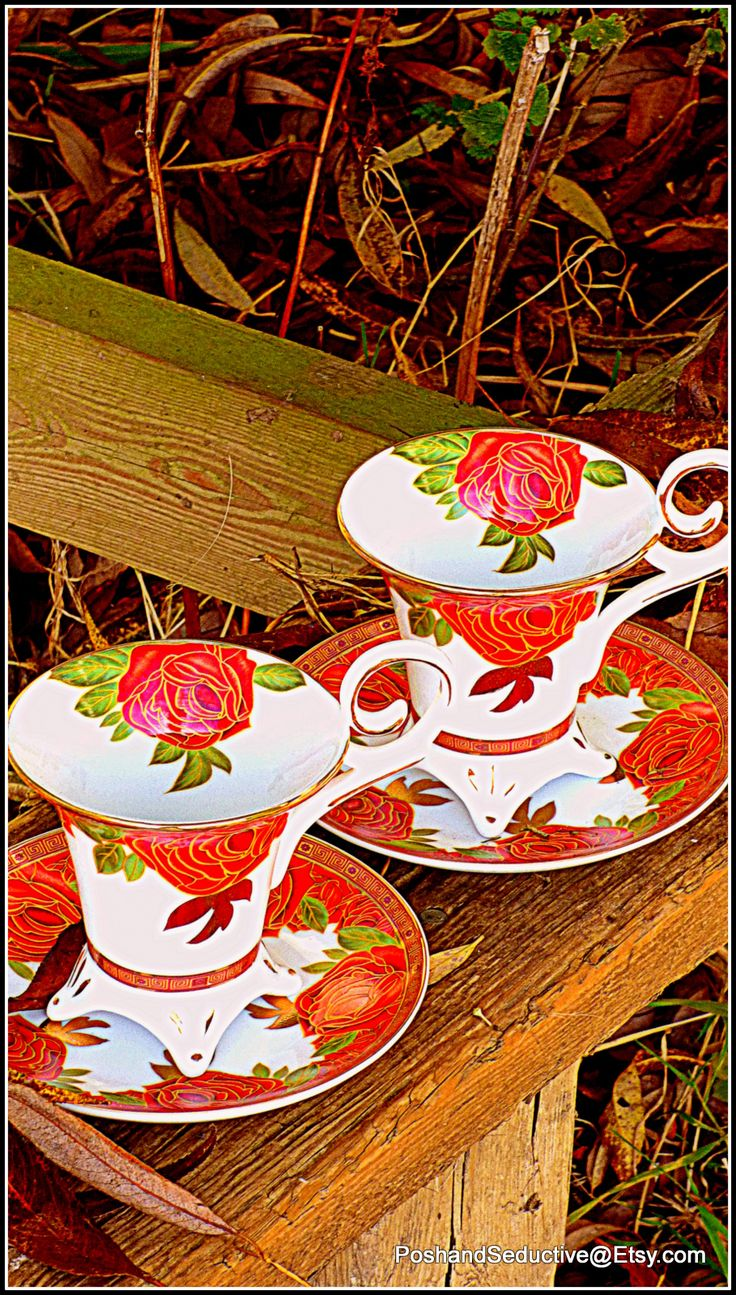 """Exquisite and exclusive from Limoges by Decor du Galion this stunning chocolate cups is something which will take your breath away. Hand painted with rich scarlet rose pattern and generous real 24 karat gold decoration to the pattern. Absolute showstopper... Visit my PoshandSeductive Etsy boutique store for more inspiring """"outside the box"""" bone china fabulous ideas... Exquisite bone china finds is my speciality... Try me !!!"""