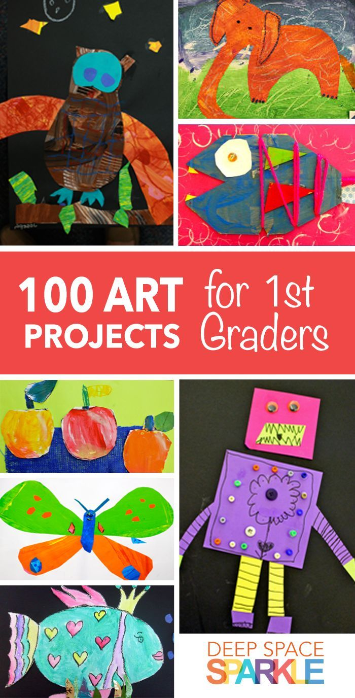 100 Art Projects for First Grade Students. Project ideas and lesson plans include: art collages, painting, mixed media, clay and many more!