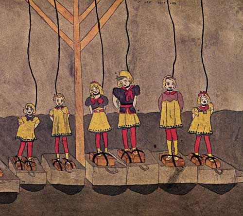 Henry Darger : The visual subject matter of his work ranges from idyllic scenes in Edwardian interiors and tranquil flowered landscapes populated by children and fantastic creatures, to scenes of horrific terror and carnage depicting young children being tortured and massacred. Much of his artwork is mixed media with collage elements. Darger's artwork has become one of the most celebrated examples of outsider art.
