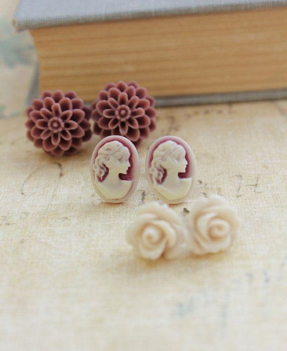 Flower Stud Earrings Romantic Feminine Sepia by apocketofposies