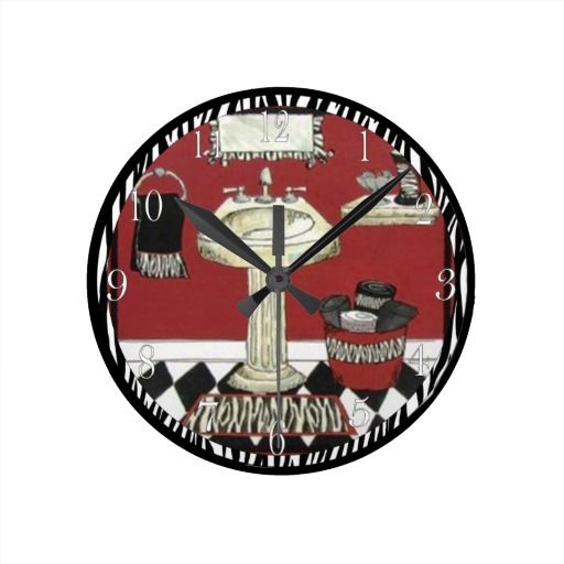 Zebra Black & Red Round Bathroom Wall Clock