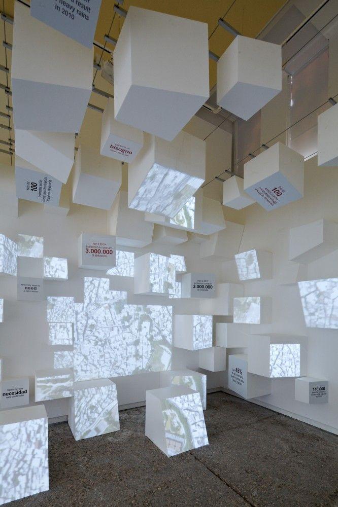 TOO COOL!!! Show different videos on different surfaces.  Venice Biennale 2012: Venezuela Pavilion