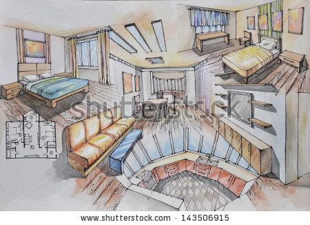 Interior design / Drawing: interior design of apartament the plan.