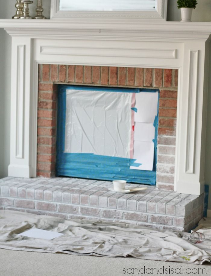 Painting brick and White washed fireplace