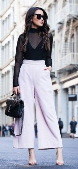 #spring #summer #street #style #outfitideas | Black Sheer Top + Lavender Wide Leg Trousers Source