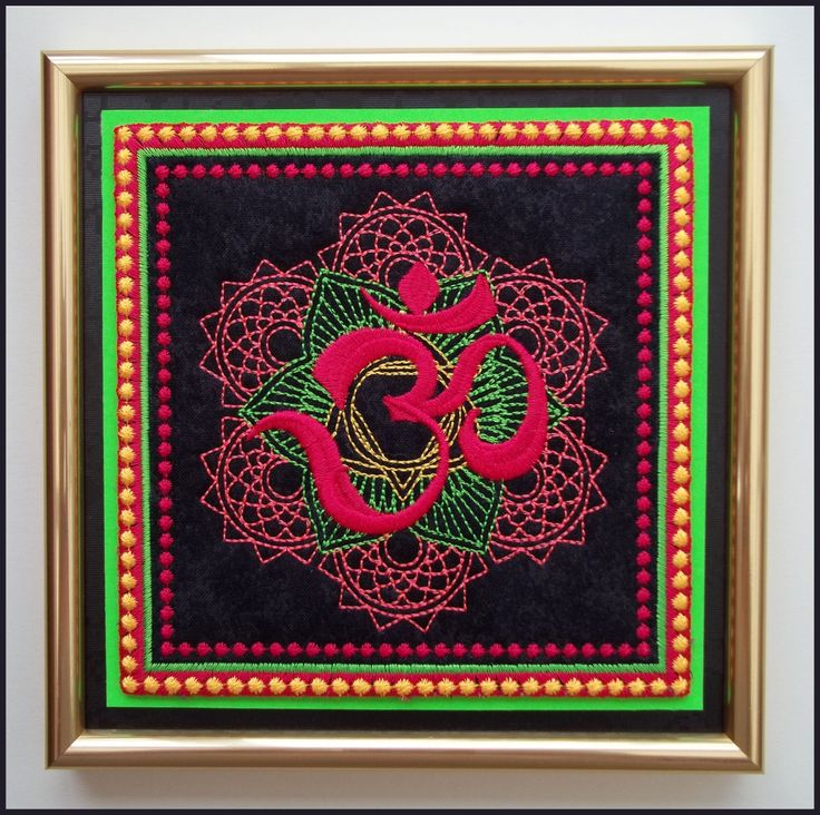 """Machine embroidered """"Om"""" picture in gold frame with glass, neon colours, aum, om, Buddhism, black embossed card, measures 6.5ins x 6.5ins. by CushionRock on Etsy"""