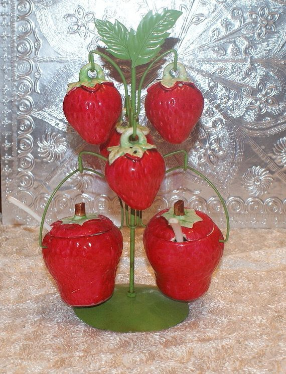 Adorable Vintage Strawberry Condiment Set by RenderMeSpeechless, $20.00