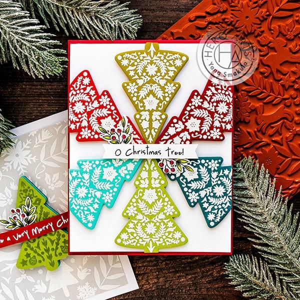 Video Color Layering Nordic Tree Color Layering With Yana Series Christmas Cards Handmade Tree Stamp Hero Arts