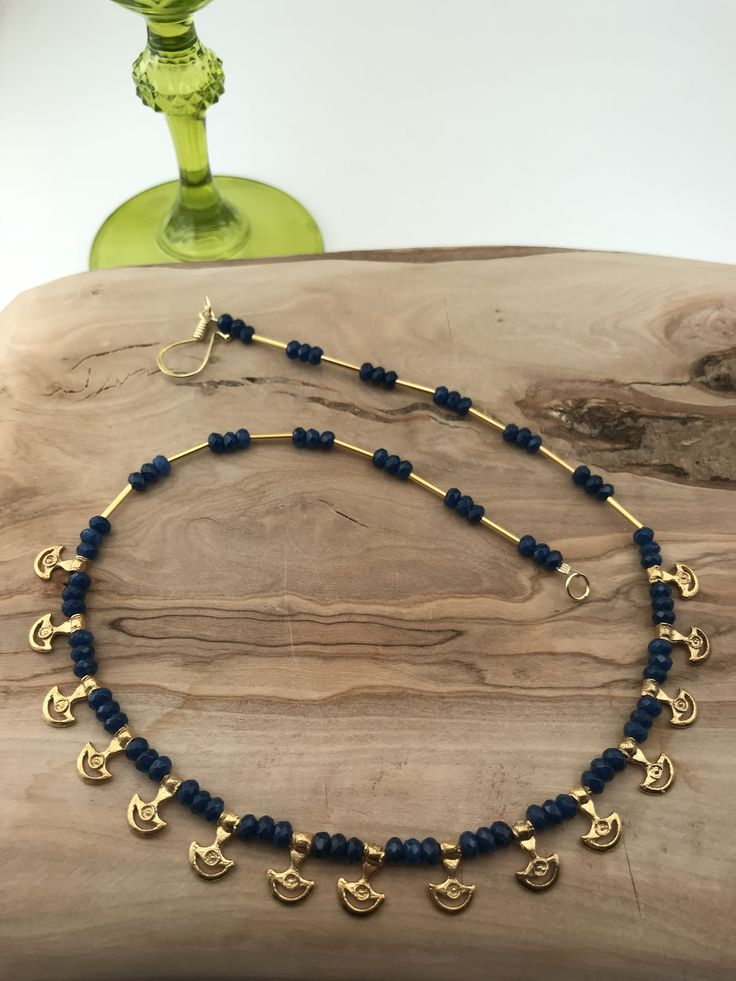 Hittite style Necklace  silver&goldplated with sapphire stones