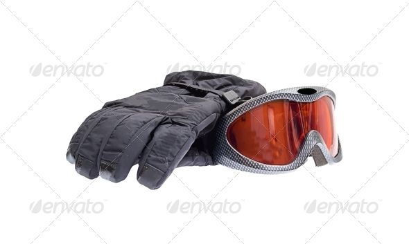 Ski Snowboard Goggles with Gloves Isolated on White