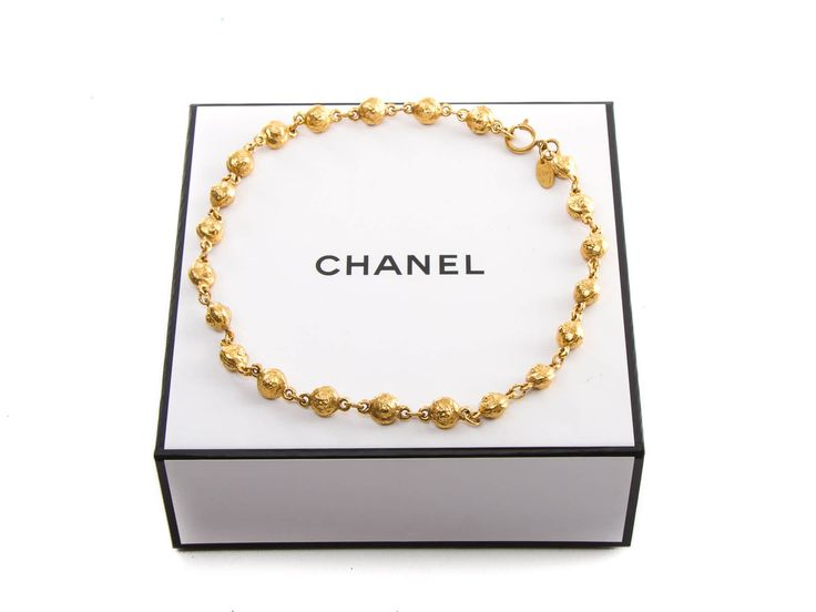 Authentic Chanel Vintage Gold-tone Beaded Choker Necklace