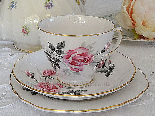 Royal Vale English China with lovely soft pink rose cup set for hire highteahire.co.nz