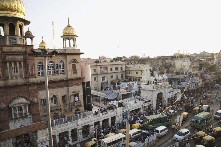 India, Delhi, Chandni Chowk, view of busy street in old town