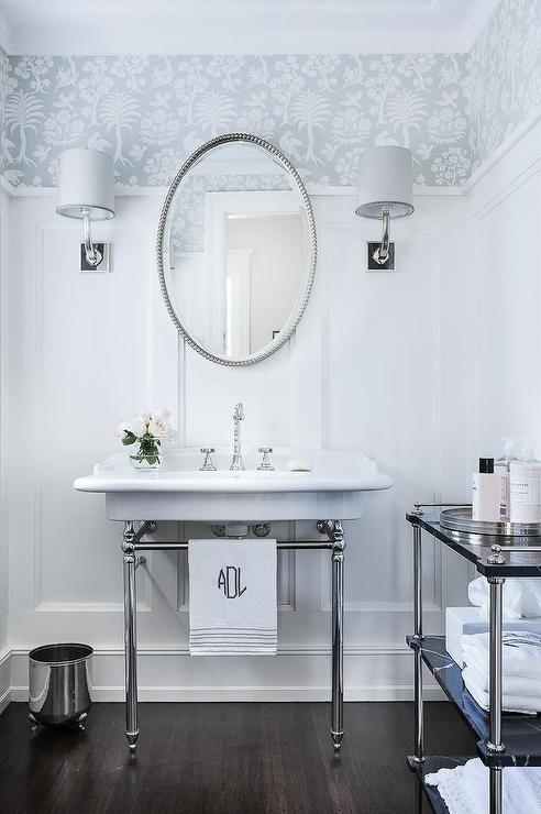 Oval Beaded Mirror Over 2 Leg Washstand, Transitional, Bathroom