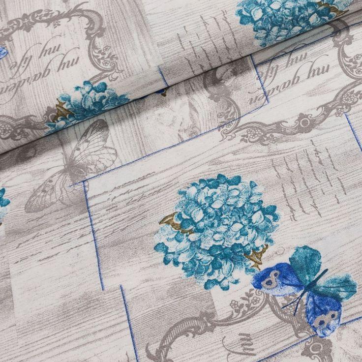 Směsové plátno HT SHILA modrá hortenzie na šedé, š.140cm (látka v metráži) | Internetový obchod Chci Látky.cz