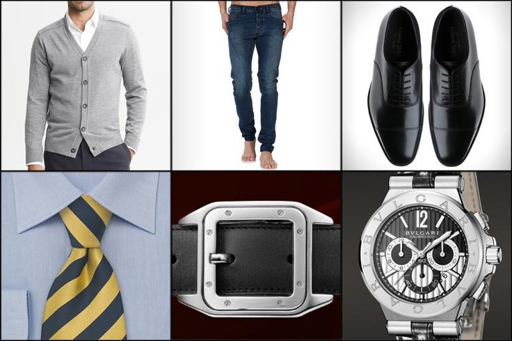 Cardigan: Banana Republic  Vaqueros: Diesel  Zapatos: Diesel  Corbata: Cheap Neckties  Cinturón: Cartier  Reloj: Bulgari