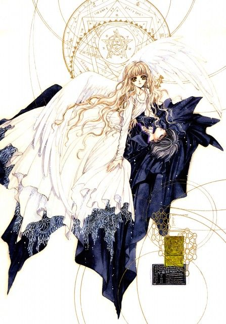 "Kamui Shirou  Kotori Monou with white angel wings from ""X"" series by manga artist group CLAMP."