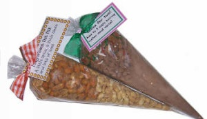 Gifts In A Jar, Soup Mixes, bath salts and more are great in cello cone bags Gifts in a jar mixes are fun gifts to give and the recipes are so EASY! Cellophane cone bags are perfect for this because they are FDA approved for food and hold 1 1/2 cups of your mix. That leaves room for closing the top