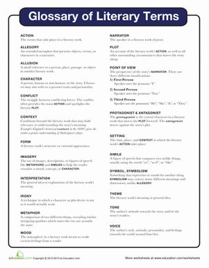 literary terms worksheets and fifth grade on pinterest. Black Bedroom Furniture Sets. Home Design Ideas