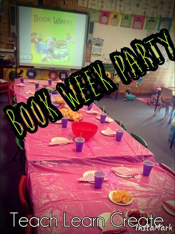 Book Week Celebrations  Healthy party food including fruit salad, veggie sticks and cream cheese dip, popcorn and chilled water with lemon wedges.