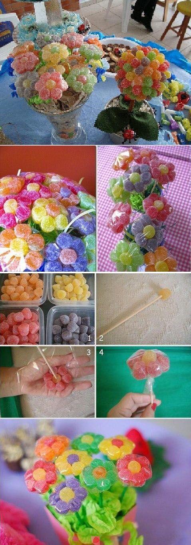 flores con dulces:
