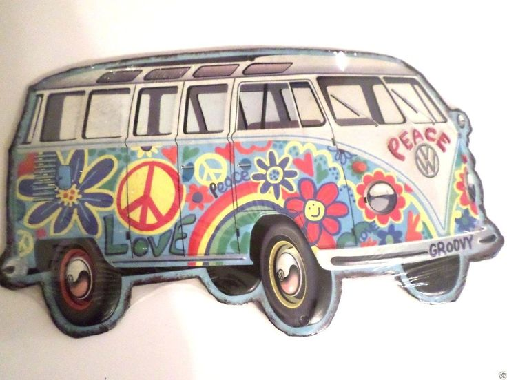 NEW VW VAN HIPPY, BOHO, FLOWERS, METAL WALL DECORATION, SIGNS GIFT IDEA, BARWARE #VOLKSWAGON