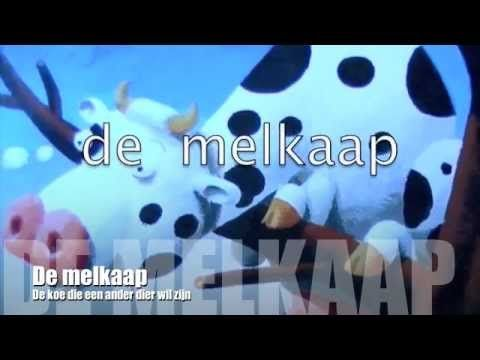 De melkaap; de koe die graag een ander dier wil zijn.Digitaal prentenboek voor kleuters