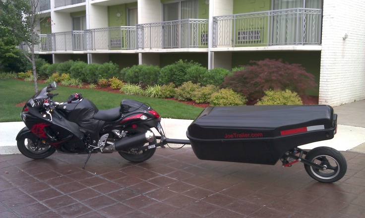 Motorcycle trailer pulled behind a 2011 Hayabusa. This is a single wheel cargo trailer.