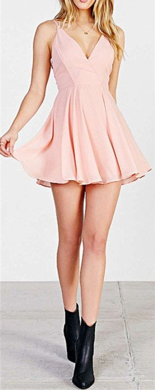 Sweet Pink Homecoming Dress, Solid V Neck Homecoming Dress, Backless Prom Dress