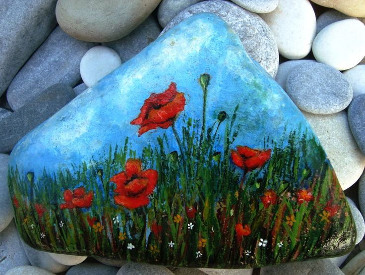Poppies - Painted stone!