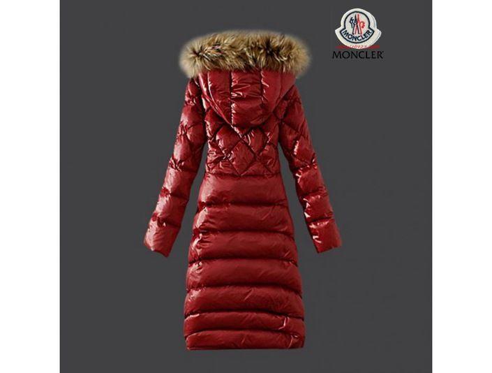 sale Moncler Damenmode rot Long Daunen mantel Pelz Kragen 100CM online