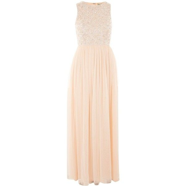 Picasso Embellished Maxi Dress by Lace & Beads (€91) ❤ liked on Polyvore featuring dresses, nude, pink maxi dress, sequin maxi dress, maxi dress, lace maxi dress and summer cocktail dresses