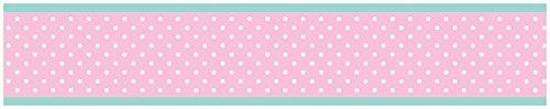 Skylar Turquoise and Pink Polka Dot Girls, Childrens and Kids Modern Wall Paper Border. One - 6 in x 15 foot roll. Prepasted. Easy to remove. The designer wall paper borders are great to add style to any nursery or child's bedroom. This design has matching accessories such as window treatments, hampers, shower curtains,. memory photo boards, body pillow cases and decorative pillows.