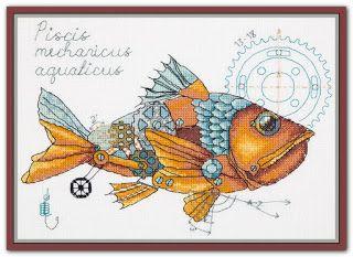 """Вышивалка 刺繍: Схема вышивки """"Panna"""" М-1914 """"Рыба механическая / Clockwork fish"""""""