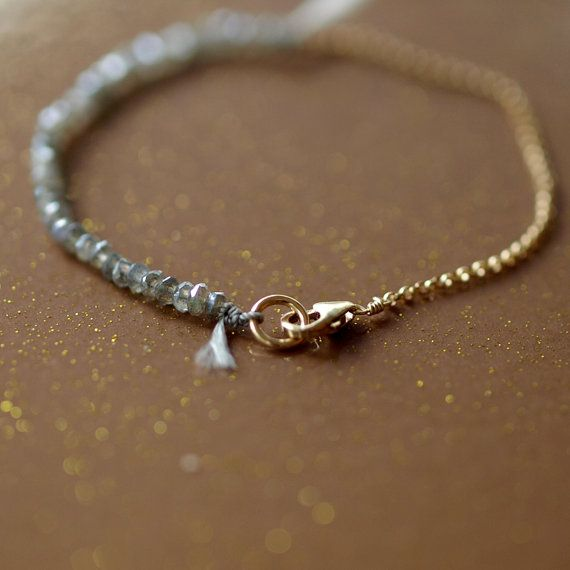 Labradorite Bracelet Gemstone Sparkle Gold Chain Silk Cord Delicate Handmade Jewelry