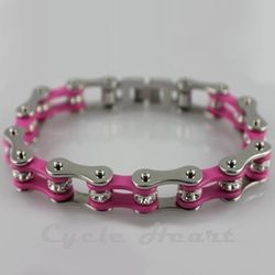 Motorcycle Chain Bracelet. Pink With Crystals. Motocross. Moto girl.... So ironic, my dad actually made me a real one of these when I was younger. of course it wasn't pink but i still wore it all the time!