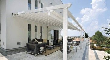 Retractable Awning over deck contemporary patio