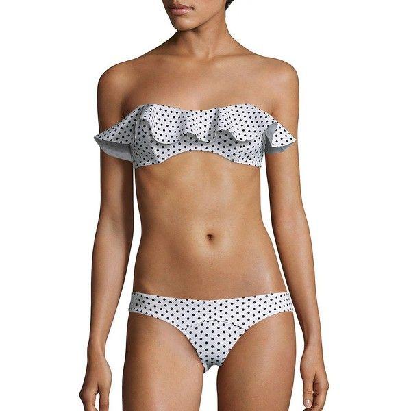 Lisa Marie Fernandez Two-Piece Natalie Flounced Polka Dot Bikini (3 455 SEK) ❤ liked on Polyvore featuring swimwear, bikinis, bikini swimwear, black and white polka dot bikini, swim bikini, ruffle bandeau bikini and 2 piece bikini