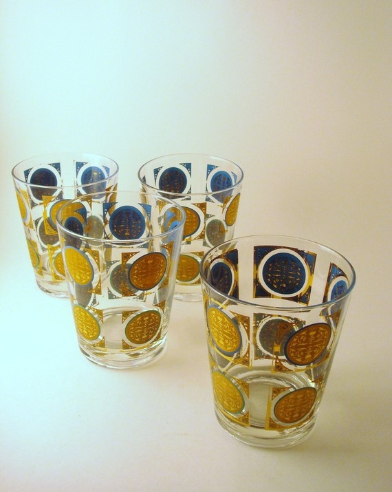 Jewels of Denial - Vintage Rocks Glasses with Turquoise and Gold Geometric Detail, Set of 4.