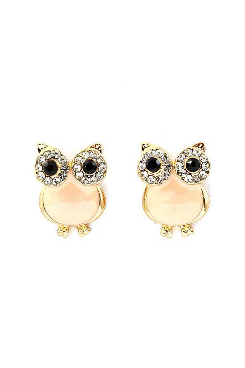 Peachy Crystal Owl Earrings | Emma Stine Jewelry Earrings